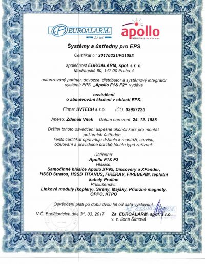 APOLLO F1 & F2 Zertifikat